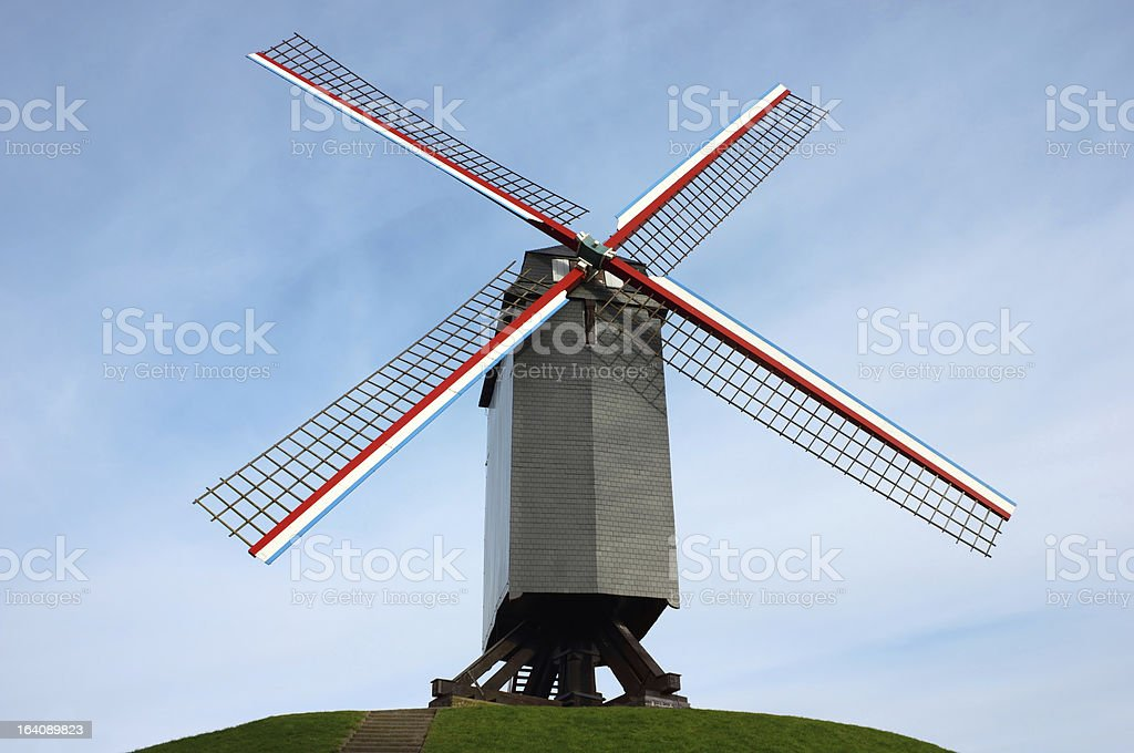 Windmill in Bruges, Belgium royalty-free stock photo