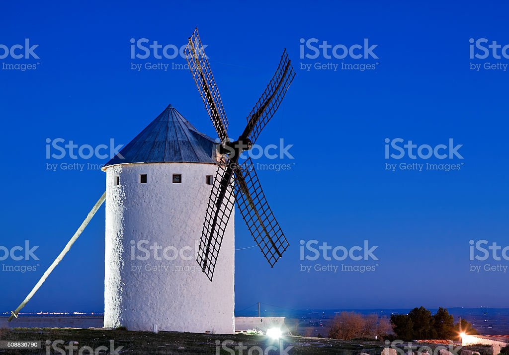 windmill in Campo de Criptana, La Mancha, Spain stock photo