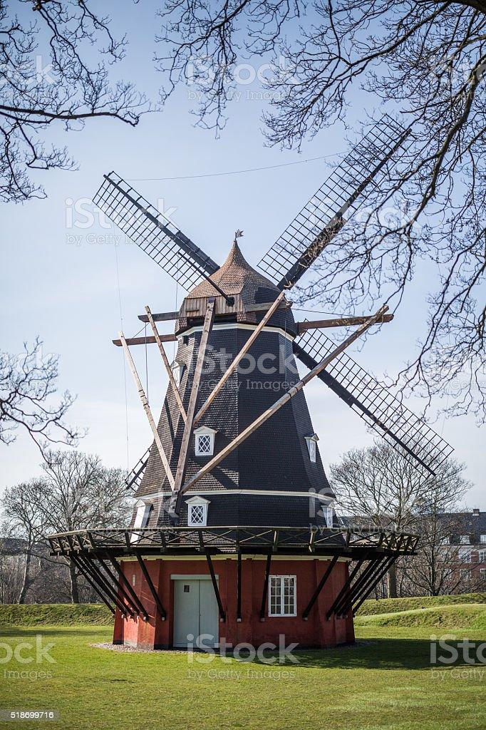 Windmill in Copenhagen Citadel - Kastellet stock photo