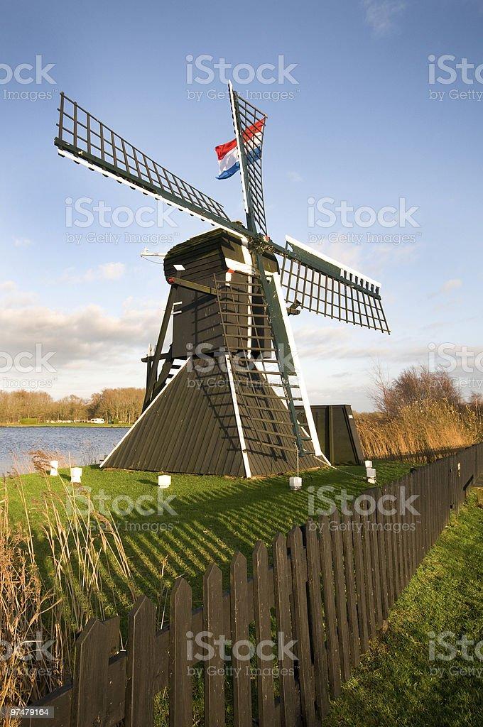 Paysage de Moulin à vent de Hollande photo libre de droits