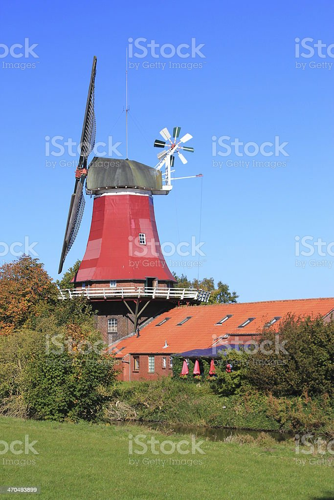 Windmill in East Frisia, Germany stock photo