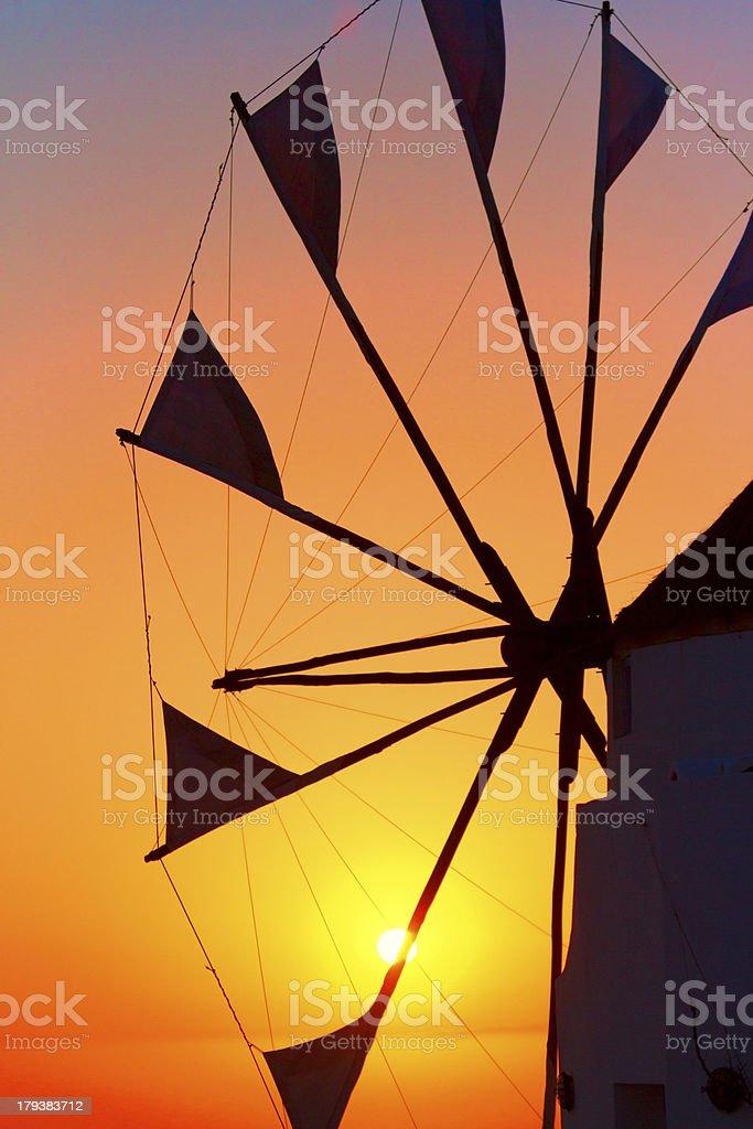 Windmill in Oia at sunset, Santorini royalty-free stock photo