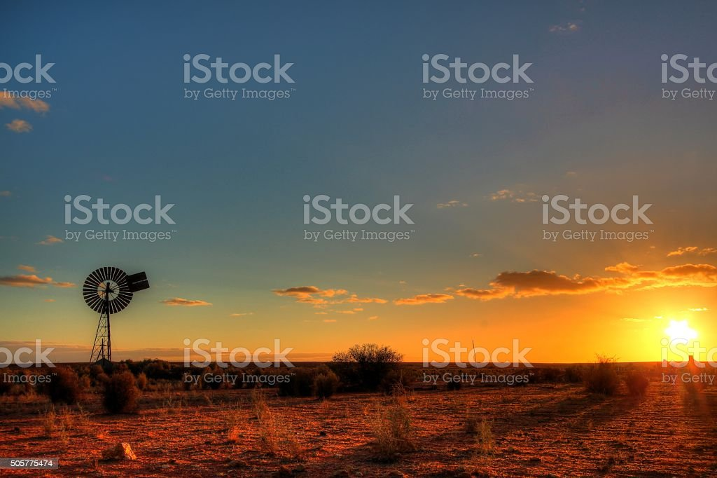 Windmill in remote Australian outback stock photo