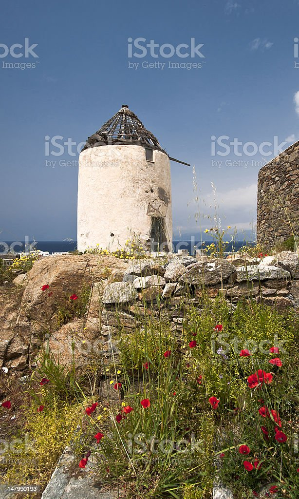 Windmill in spring royalty-free stock photo