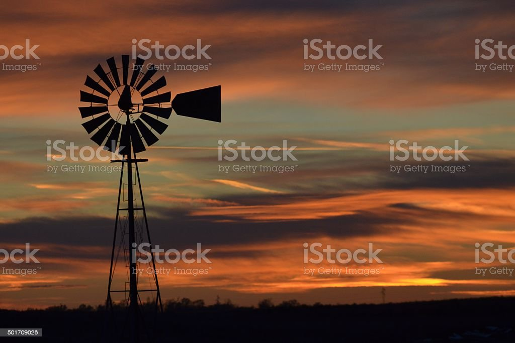 Windmill in Sunset stock photo