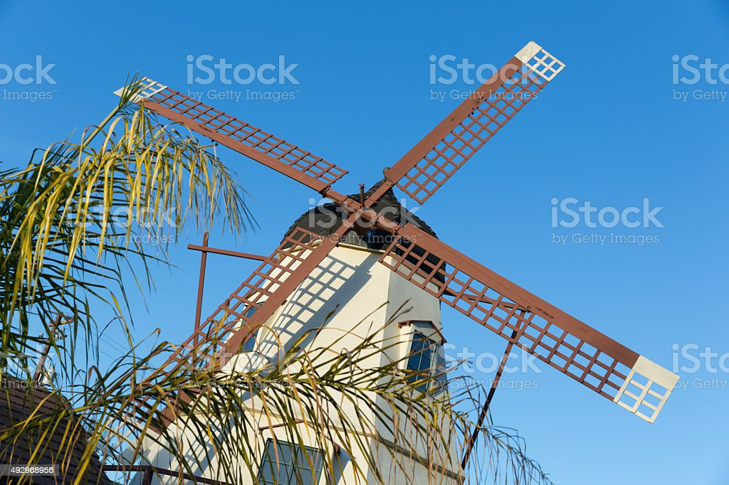 Windmill in the City of Solvang, California stock photo