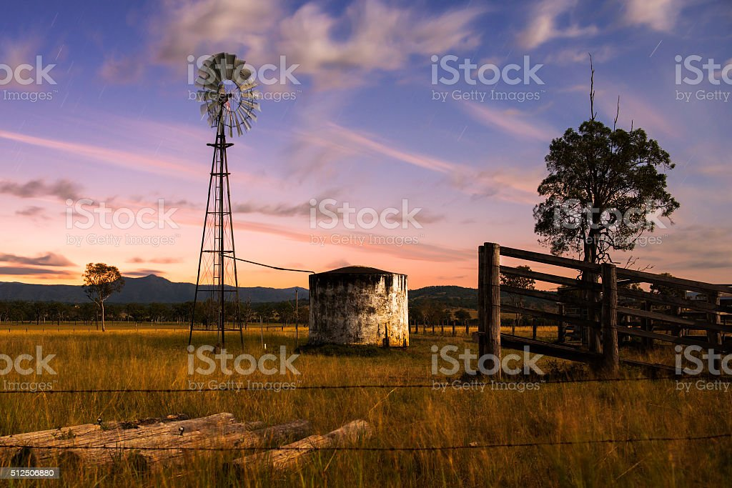 Windmill in the countryside stock photo