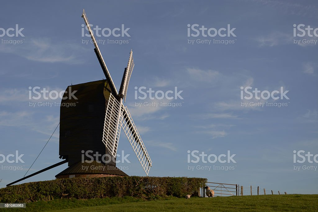 Windmill in the English Countryside stock photo