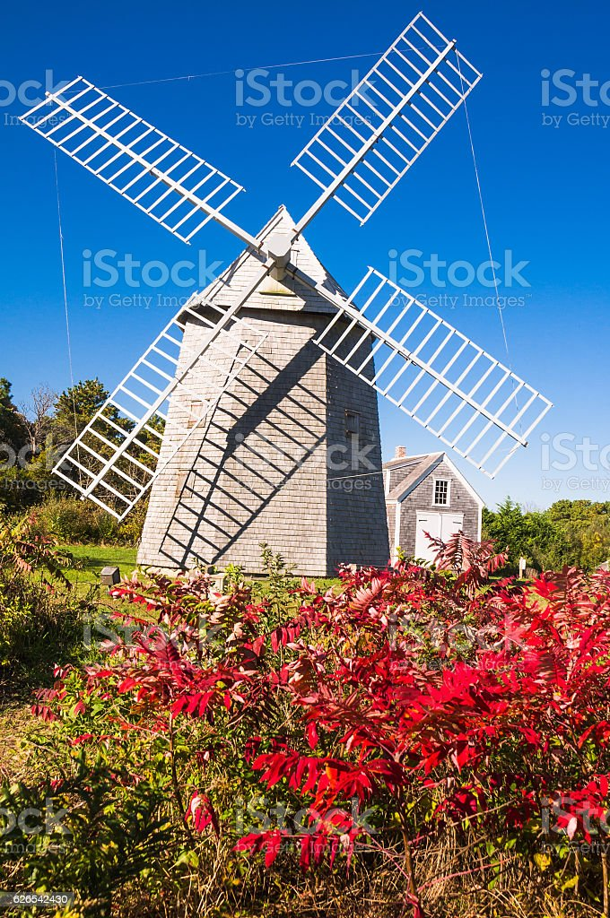 Windmill in the Fall stock photo