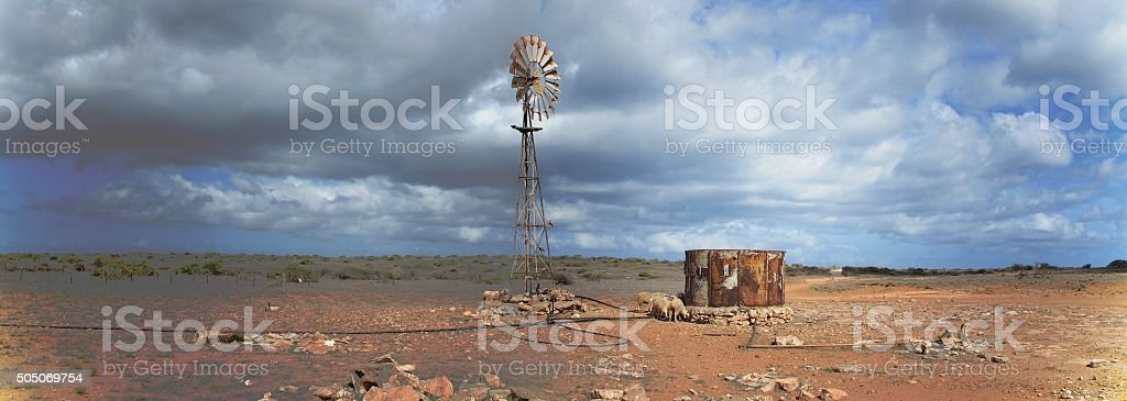 Windmill in the Outback, Coral Bay, Western Australia stock photo