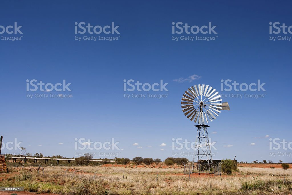 Windmill in the Outback,Rural Australia stock photo