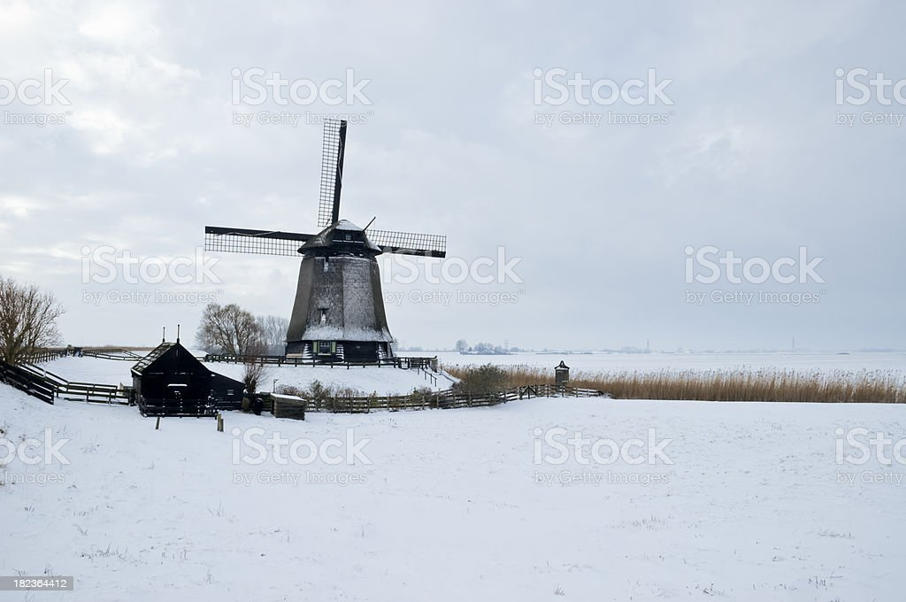 Windmill in the Snow royalty-free stock photo
