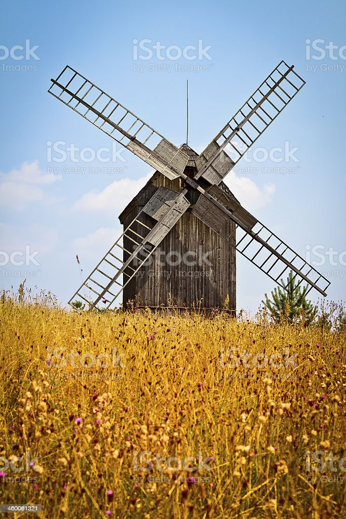 Windmill in the summer, Poland royalty-free stock photo