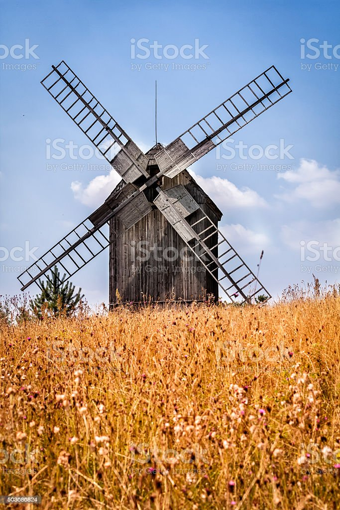Windmill in the summer, Poland stock photo