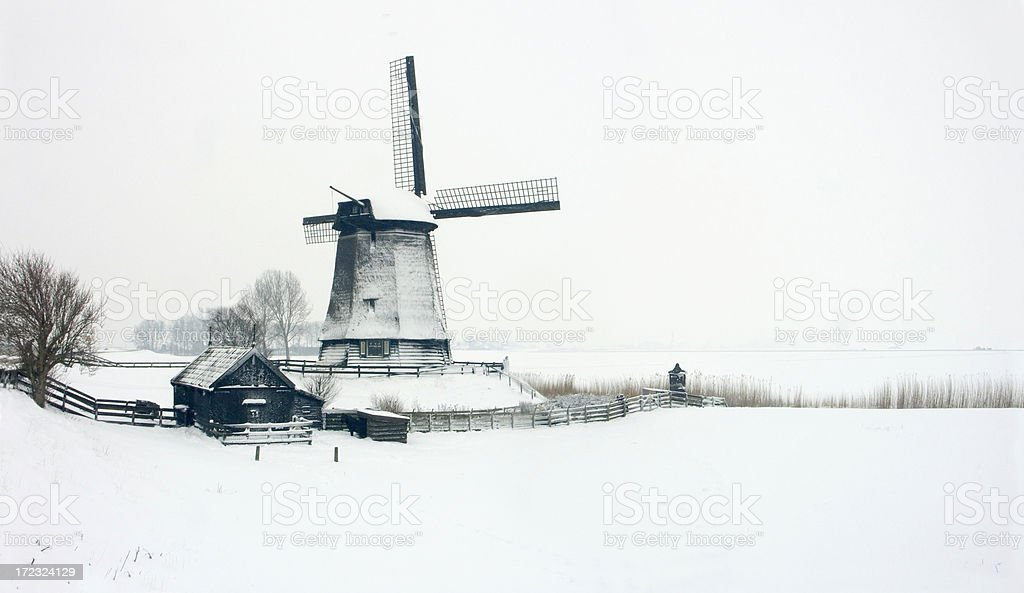 Windmill in Winter royalty-free stock photo