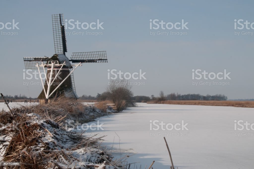 Windmill in Winter stock photo