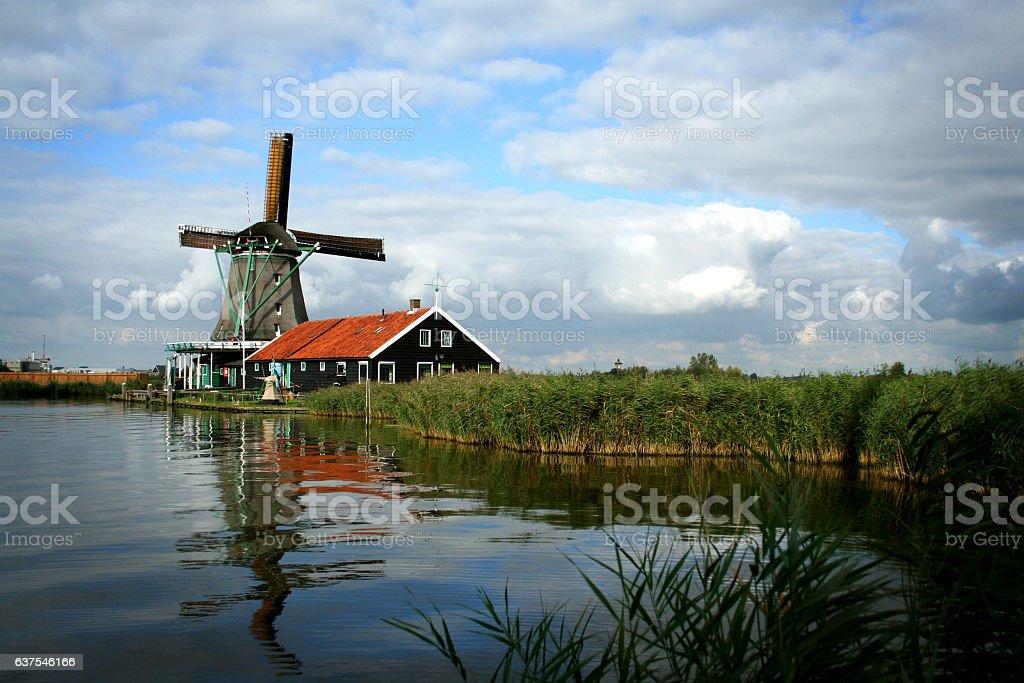 Windmill in Zaanse Schans, Netherlands stock photo