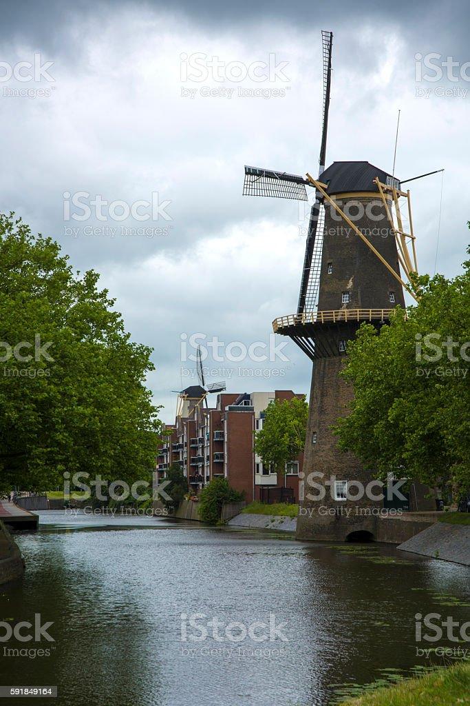 Windmill Kinderdijk stock photo
