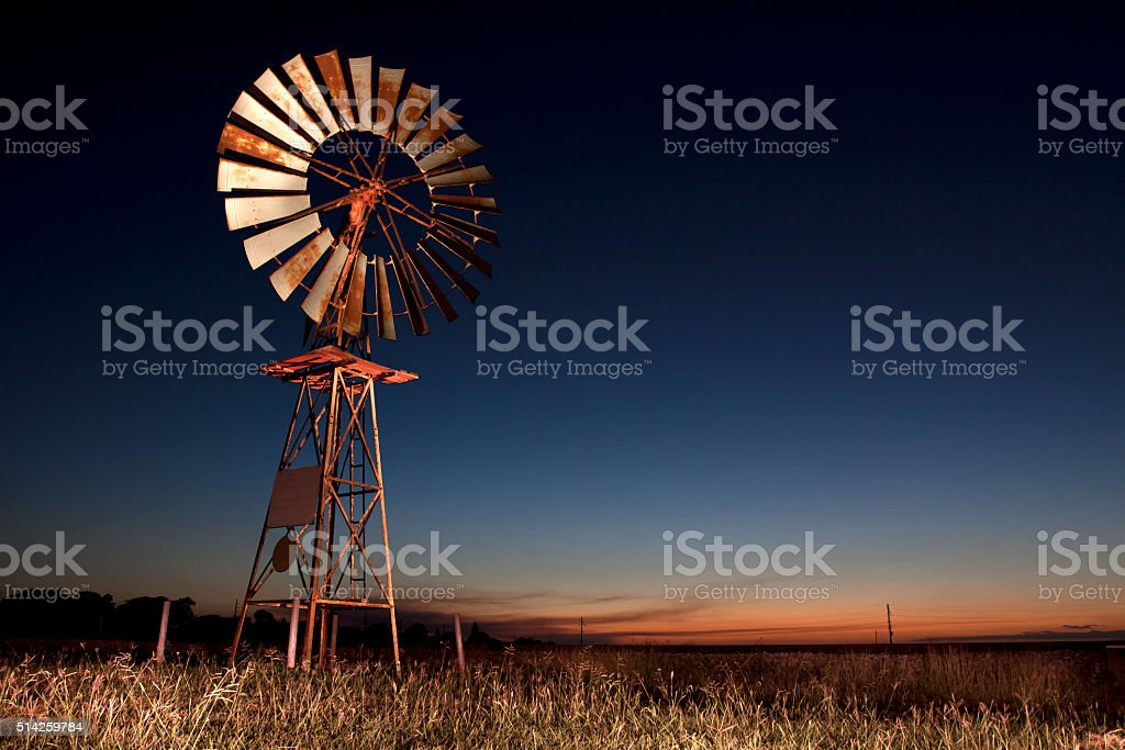 Windmill Light Painting stock photo