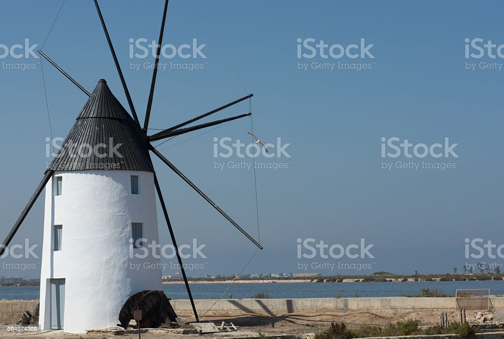 Windmill Molino Calcetera San Pedro del Pinatar, Murcia, Spain stock photo