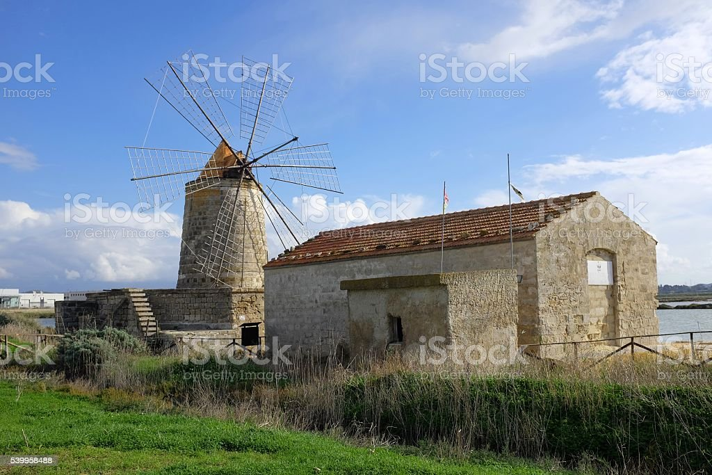 Windmill near Trapani (Sicily) stock photo