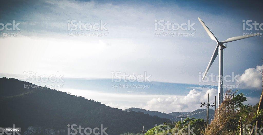 Windmill on a mountain stock photo