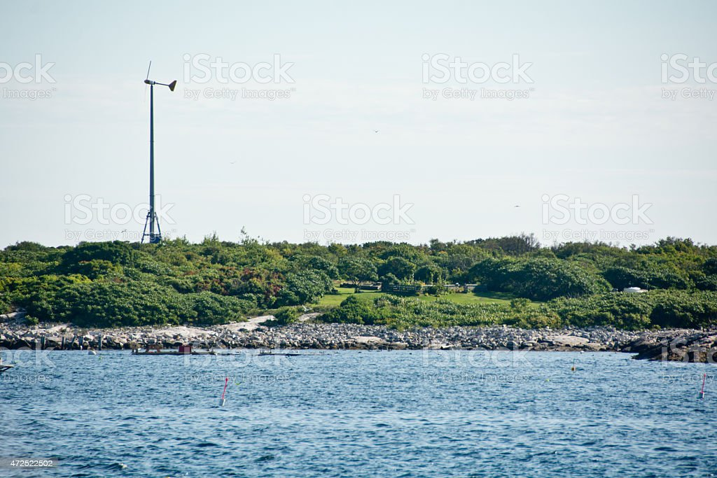 Windmill on Appledore Island stock photo