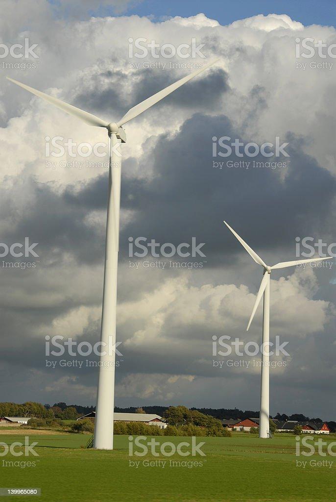 Windmill on farm stock photo