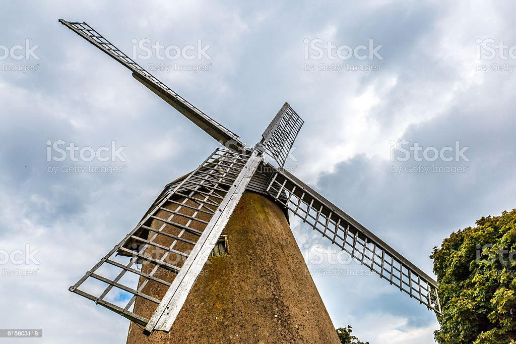 Windmill on Isle of Wight in summer stock photo