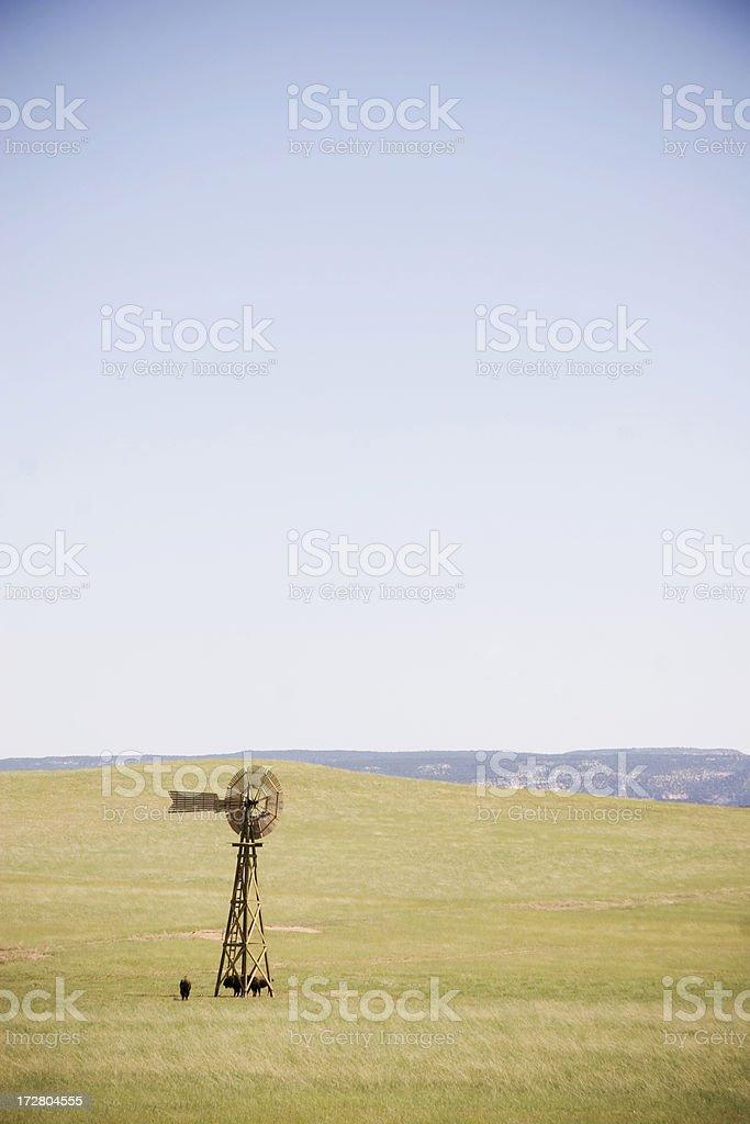 Windmill on prairie royalty-free stock photo
