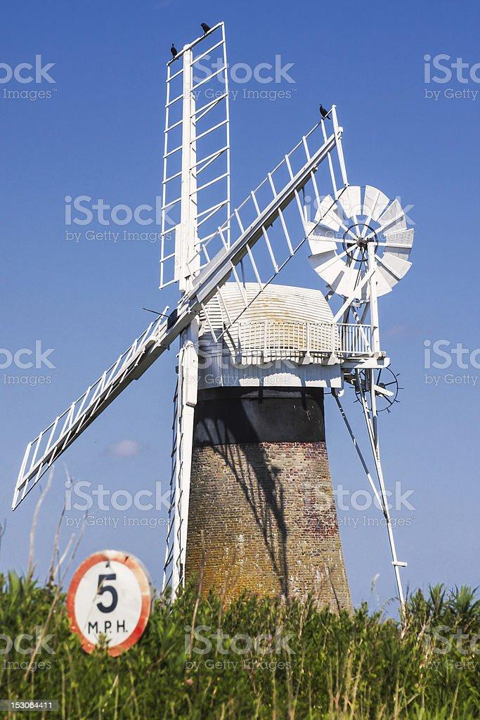 Windmill on the Norfolk Broads stock photo