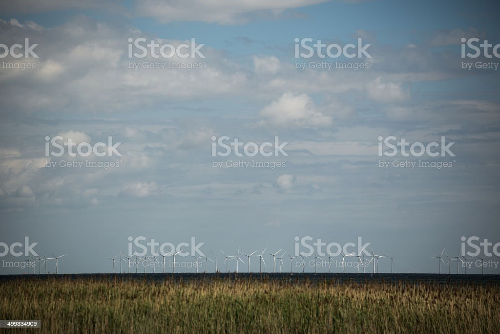 Windmill park in Øresund, Denmark stock photo