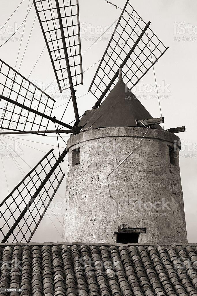 BW windmill stock photo
