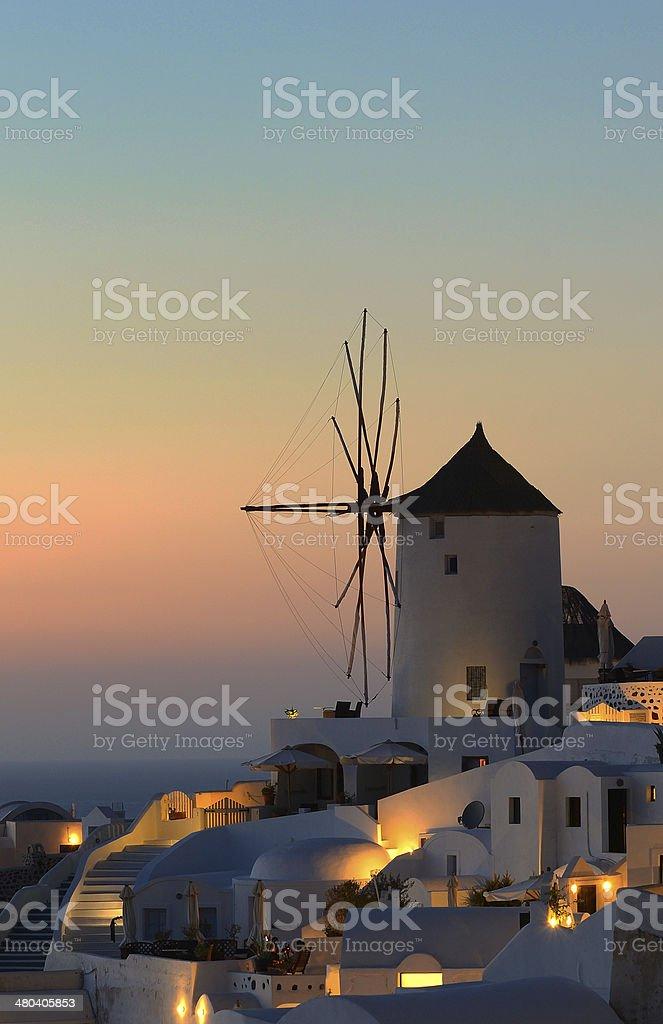 Windmill Santorini stock photo