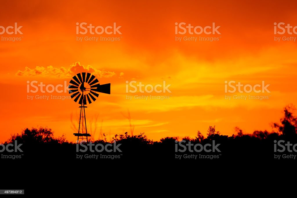 Windmill Silhouette stock photo