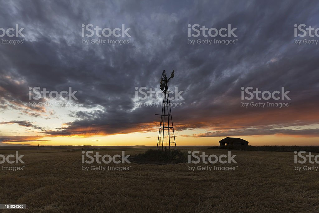Windmill Sunset royalty-free stock photo