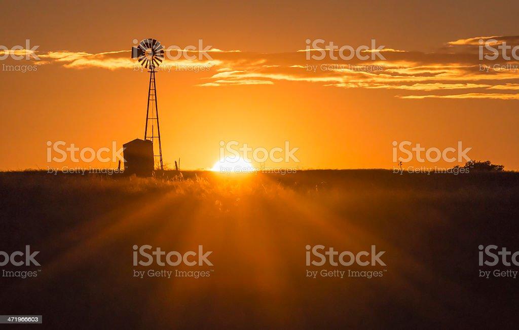 Windmill Sunset stock photo