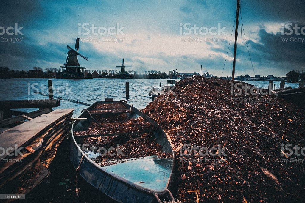 Windmill Town and Wood shavings stock photo