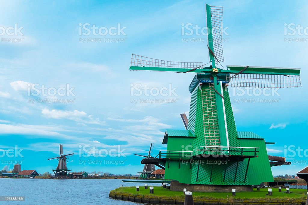 Windmill Town, Netherlands stock photo