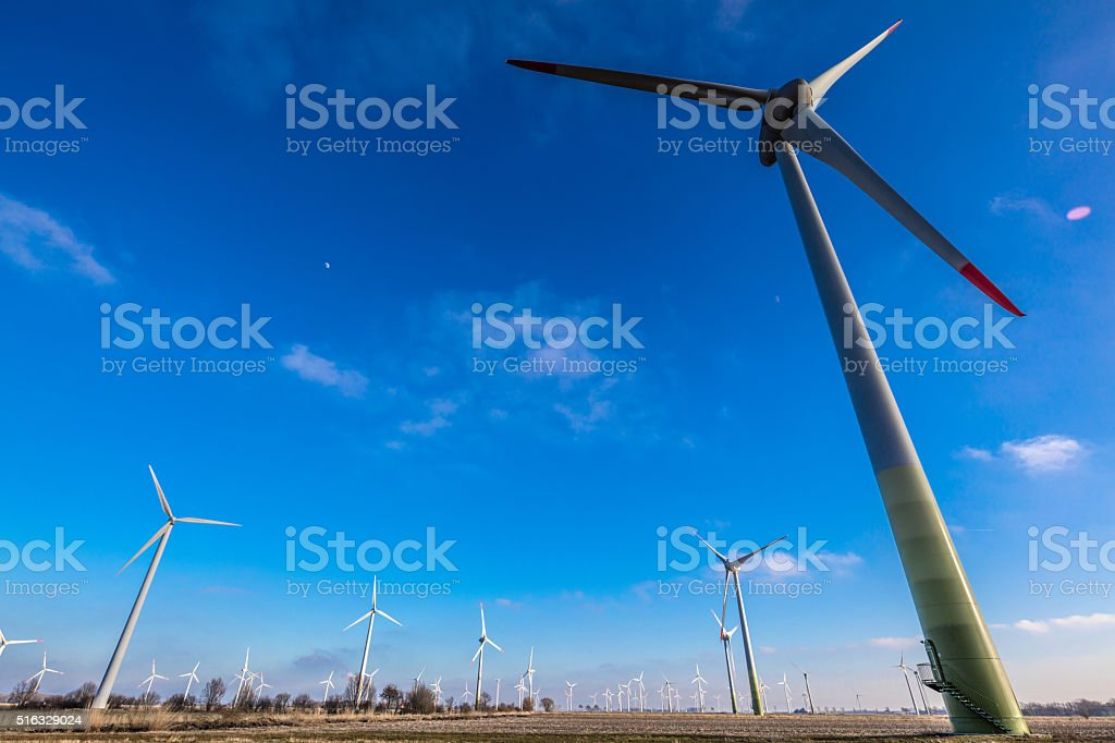 Windmill turbines in westcoast area of germany stock photo
