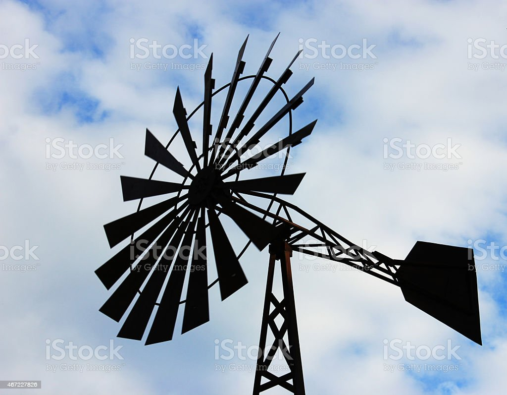 Windmill water tower stock photo