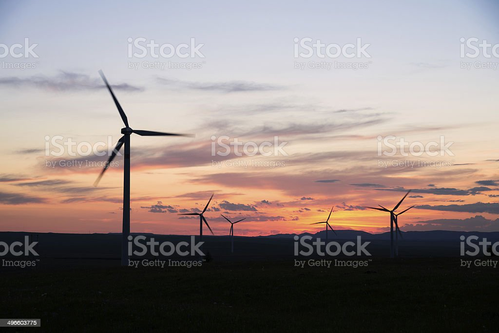 windmill with sunset royalty-free stock photo