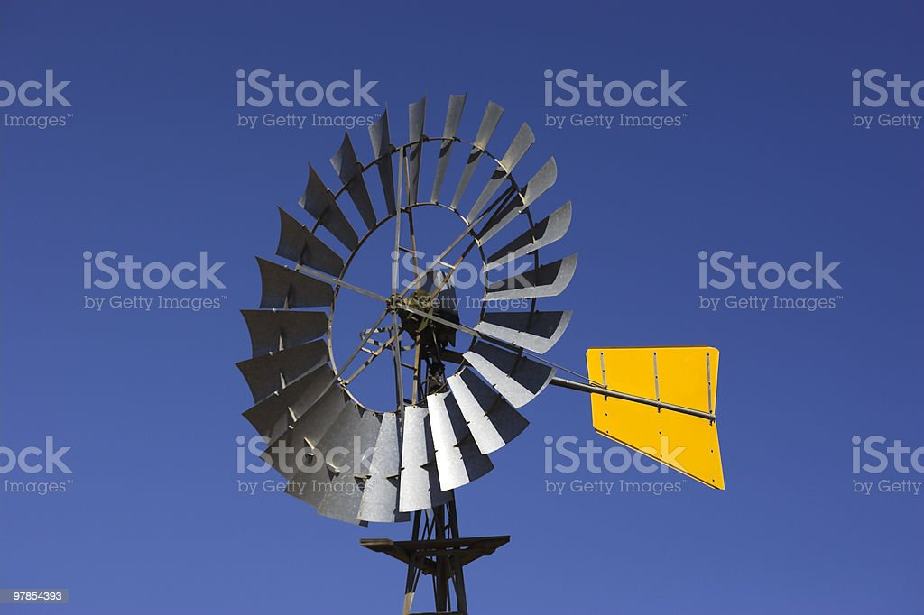 Windmill with Yellow Tail stock photo