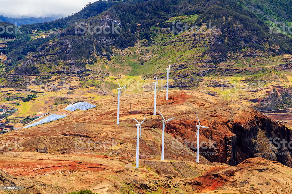 Windmills and landscape of Madeira Island stock photo