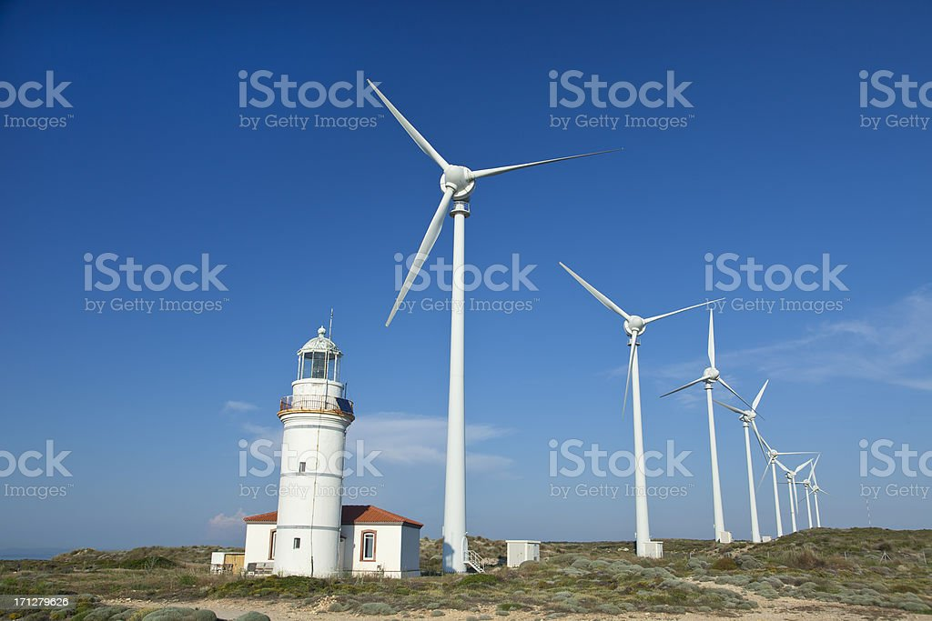 Windmills and Lighthouse royalty-free stock photo