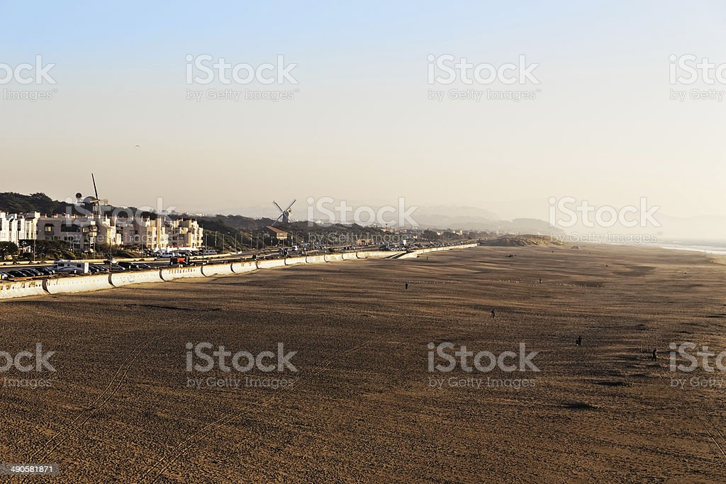 Windmills and ocean shore in San Francisco royalty-free stock photo