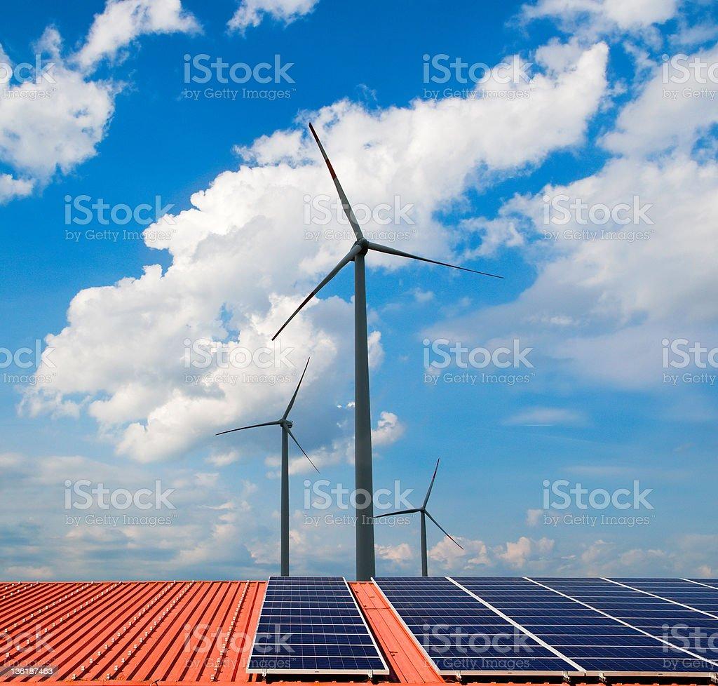 Windmills and solar panels royalty-free stock photo