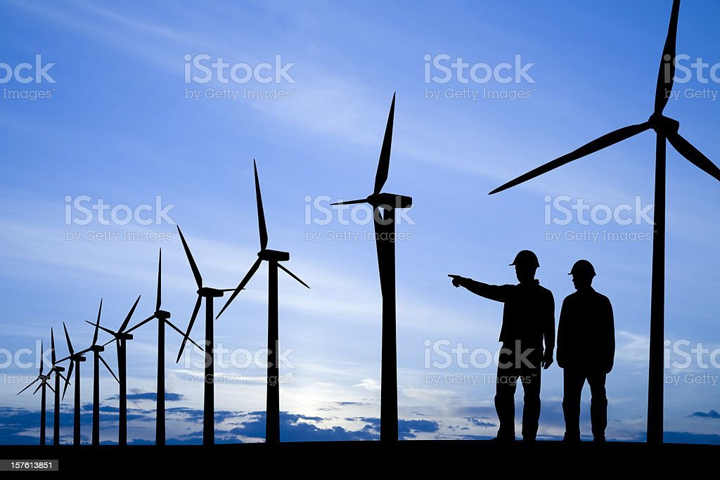 Windmills and Workers royalty-free stock photo