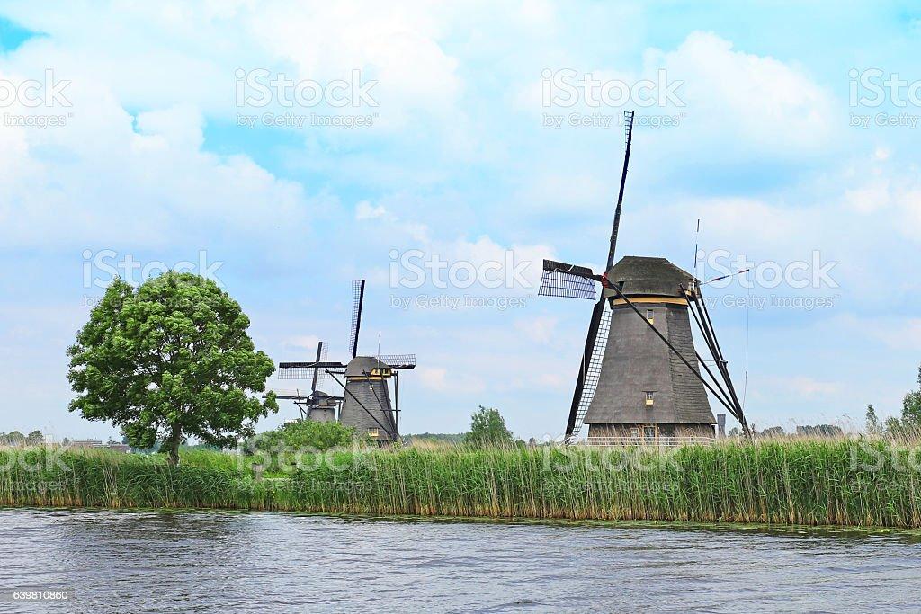 Windmills at Kinderdijk UNESCO World Heritage Site in the Netherlands stock photo