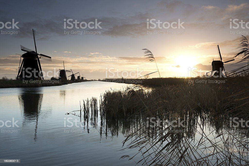 Windmills at sunrise royalty-free stock photo